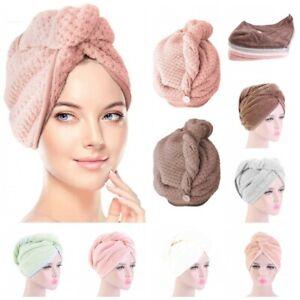 Microfiber Towel Quick Dry Hair Drying Turban Wrap Hat Cap Bathing Shower