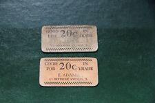 (2) 20¢ 1931-2  Grand Rapids, Michigan Depression Good For Token E.Adams Soda