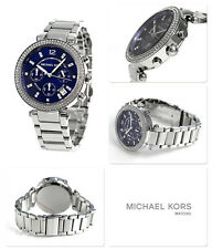 NEW MICHAEL KORS MK6117 BLUE DIAL  SILVER BRACELET PARKER LADIES WATCH UK