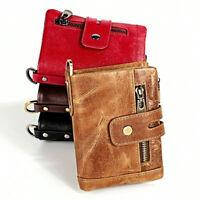 Genuine Leather Men/'s Billfold Wallet RFID Blocking Multi-card Holder Coin Purse
