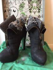 Topshop Boots CJG 6 Midnight Hour Black Platform ankle Chloe Green Sole fur zip