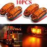 10PCS Amber LED Marker Lights 12V Side Clearance Truck Trailer Lamps Oval Chrome