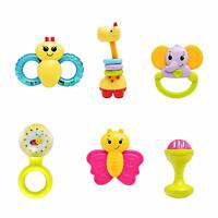 infunbebe 6pcs Baby Rattles Teether Toy Grab Shaker Spin Rattle Shaking Bell Set