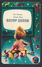 #100.760 vintage swap card -FAIR- Advert. Dairy Queen baby, surprise pic on back