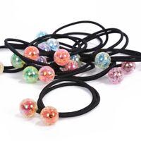 2Pcs Women Girls Elastic Hair Ties Band Ropes Ring Crystal Ball Ponytail Holder