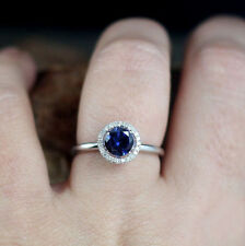 1.50ct Halo Sapphire & Diamond Solitaire Engagement Ring 14K Real White Gold