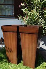 """2er Set Zink Blumenkübel Übertöpfe Pflanzkübel """"Shanghai"""" Braun 70cm"""