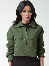 FOREVER 21 JACKET LADIES CASUAL CROP GREEN MILITARY JACKET