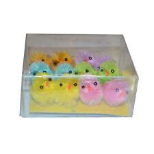 12 Coloured Easter Chicks Fluffy Plush Mini Chickens Decorations Decor Yellow