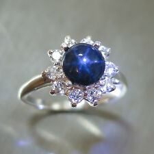 2cts Natural royal blue ray star sapphire 925 sterling silver 7 or N1/2 resize