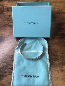 Tiffany & Co. Sterling Silver Atlas Roman Numerals Small Cuff Bangle Bracelet