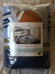My World Full/Queen 3 Piece Comforter Set Sports Theme Blue Denim/Khaki New