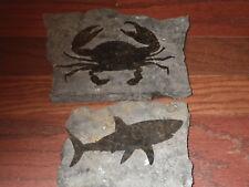 2 Marble Stone Art Shark/Crab Sea Decor Marble Slab