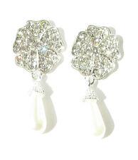 Plata Perla Blanca Diamante Pendientes Boda Flor Rosa Clásico 459