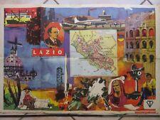 Vecchio poster scolastico cartina geografica mappa della regione LAZIO da muro