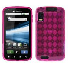 AMZER Luxe Argyle Gloss TPU Gel Skin Case for Motorola ATRIX 4G MB860 - Hot Pink