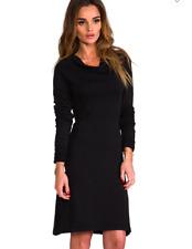 James Perse Sz 0 Black Supima Cotton Funnel Draped Neck Long Sleeve Dress XS/S