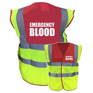 Emergency Blood Red / Yellow Two ToneHi Vis Safety Vest / Hi Viz Waistcoat