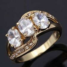 Engagement Size 9 White Topaz Womens 10KT Gold Filled Rare Wedding Jewelry Rings