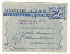 1951 Rosetta Natal South Africa Airmail Letter Sheet Postage Due to Ardmore OK