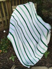 VINTAGE GREEN AND WHITE STRIPE HAND CROCHET AFGHAN/LAP THROW