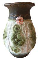 """Vintage 70s Uebelacker Keramik 579/175 West German Vase Green Brown Mat 6"""" Old"""