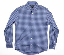 Saks Fifth Avenue Navy Label Shirt Sz M Slim Fit Button Down Long Sleeve Checks