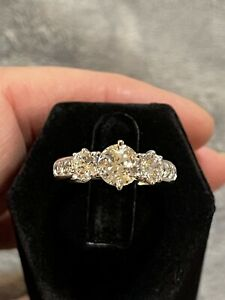 QVC Diamonique Sterling Silver 3 Stone Ring Size 8