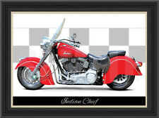 INDIAN CHIEF 2000 MOTORCYCLE PRINT / CLASSIC BIKE POSTER