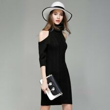 Womens Weave Sexy off-the-shoulder Dress Slim Fit Long Sweater base shirt Skirt