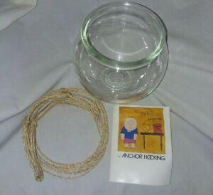 Vintage Hanging Boho Macrame Glass Globe Fish Bowl Terrarium Candle Holder NOS