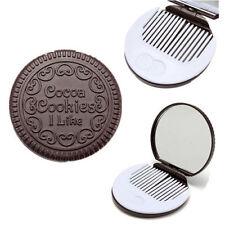 Forme de Biscuit au Chocolat Peigne de Maquillage Portable Miroir de Poche