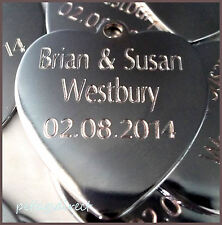 Medium/Large Collie/Labrador Engraved Polished CHROME HEART Dog Pet ID Tag