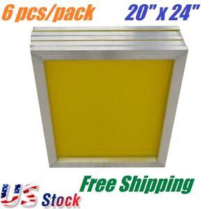 """6 PACK Aluminum Frame Screen Printing Screens 20""""x 24"""" 230 Mesh Count Yellow"""