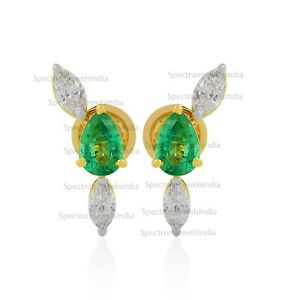 18k Yellow Gold 2.47 TCW Emerald Gemstone SI/HI Diamond Stud Earrings Jewelry