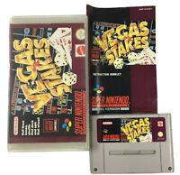Vegas Stakes SNES Super Nintendo Game Cartridge With Manual In Rental Case
