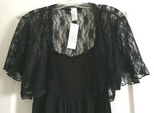 BLACK LACE Shrug Cover Up Short Jacket Evening Open Top Bolero Wrap XL 2X 3X USA