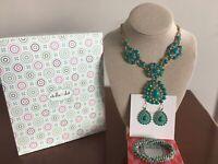 Stella & Dot Charlize Turquoise Bib Teardrop Necklace, Earring and Bracelet Lot