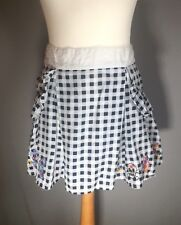 Laura Topshop Navy White Check Gingham Embroidered Summer Mini Skirt 12/14 Flare