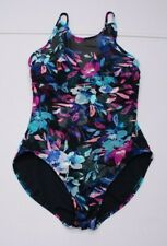 Time & True Womens L 12-14 Black Floral Swim Suit 1 Piece Bathing Suit