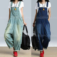 Women Casual Loose Denim Jumpsuit Overalls Destroyed Jeans Drop Crotch Trousers