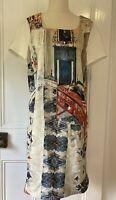 Laura Ashley size 10 Renaissaince Italian Print Shift Dress round neck short sle
