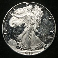 "1986-S PROOF SILVER AMERICAN EAGLE 1 OZ BULLION COIN ""SCRATCHED"" LOT 230749"