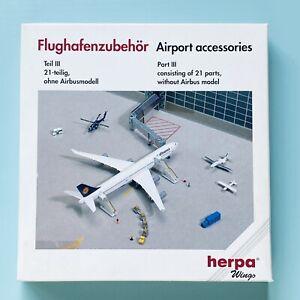 Airport Accessories III, 21 parts komplett, 1:500 OVP Herpa Flughafenzubehör