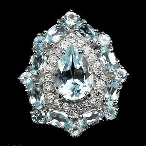 LUXURIOUS TOP SKY BLUE TOPAZ SOLITAIRE, W. CZ 14K ON STERLING 925 SILVER RING 6