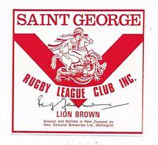 """REG GASNIER ~ RUGBY LEAGUE """"IMMORTAL"""" ~ HAND SIGNED BEER LABEL ~ LION BROWN N.Z."""