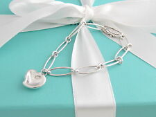 Auth Tiffany & Co Silver Peretti Carved Heart Bracelet