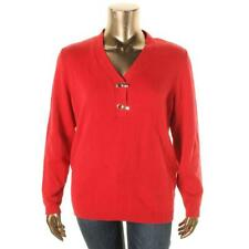CHARTER CLUB Red Pullover Sweater with Gold Toggle Hook Hardware - Size 1X