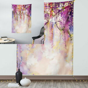 """Ambesonne Japanese Tapestry, Floral Country Style 40"""" X 60"""", Purple Peach"""