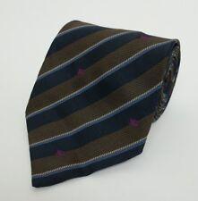 Corbata Seda Burberry Azul Marino Marrón Herringbone Universidad A Rayas Boda Rrp £ 119